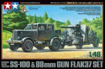 Tamiya Hanomag SS-100 German Heavy Tractor & 88mm Gun Flak 37 makett