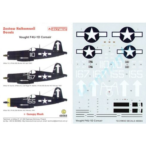 Techmod Vought F4U-1D Corsair matrica