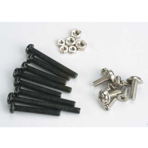 Traxxas Screw set, machine screw & nut set (black) (Tom Cat/ Spirit)