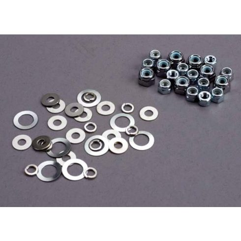 Traxxas Nut set, lock nuts (3mm (11) and 4mm(7)) & washer set