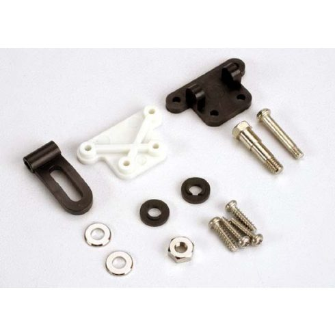 Traxxas Trim adjustment bracket (inner)/trim adjustment bracket (outer)/trim adjustment lever/ 3x16mm shoulder screw/2.6x 10mm self-tapping screws (4)/convex and concave trim lever washers/4x21mm doub