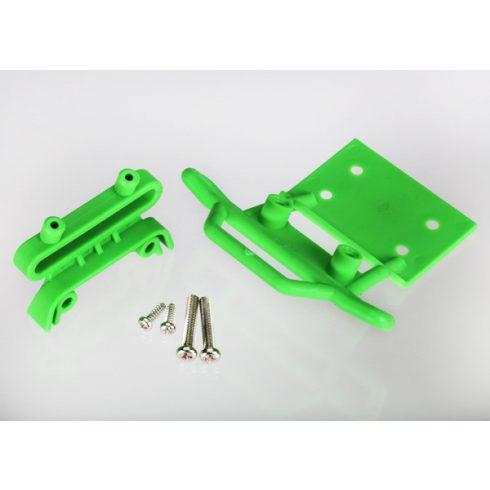 Traxxas Bumper, front / bumper mount, front / 4x23mm RM (2)/ 3x10mm RST (2) (green)