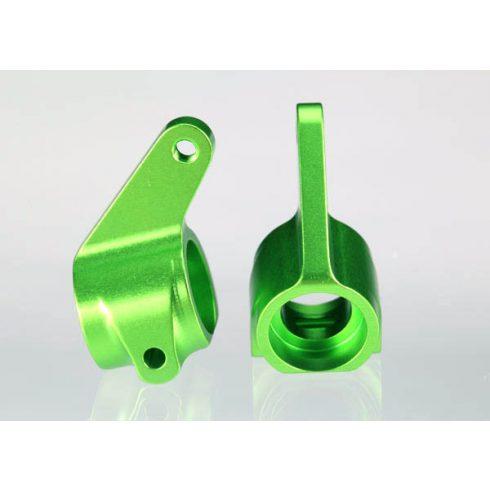 Traxxas Steering blocks, Rustler®/Stampede®/Bandit (2), 6061-T6 aluminum (green-anodized)/ 5x11mm ball bearings (4)