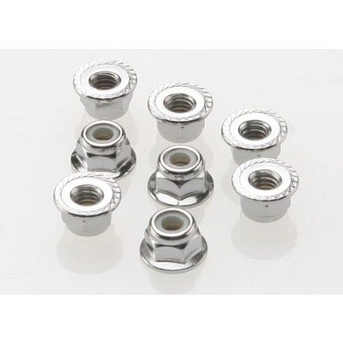 Nuts, 4mm flanged nylon locking