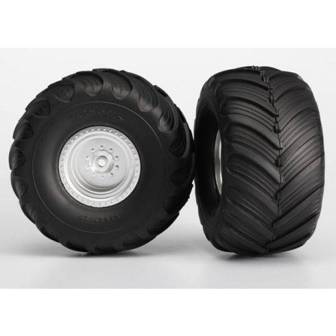 Traxxas  Tires & wheels, assembled, glued (satin chrome wheels, Terra Groove dual profile tires, foam inserts) (2WD electric rear) (2)