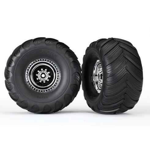 Traxxas Tires & wheels, assembled, glued (chrome wheels, Terra Groove dual profile tires, foam inserts) (2WD electric rear) (2)