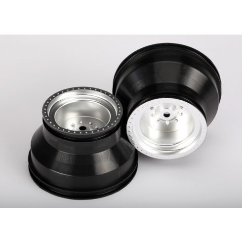 "Traxxas Wheels, satin chrome, dual profile (2.0"" outer, 3.0"" inner) (2WD electric rear) (2)"