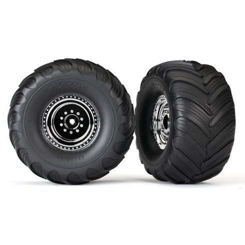 Traxxas Tires & wheels, assembled, glued (chrome wheels, Terra Groove dual profile tires, foam inserts) (nitro rear/ electric front) (2)