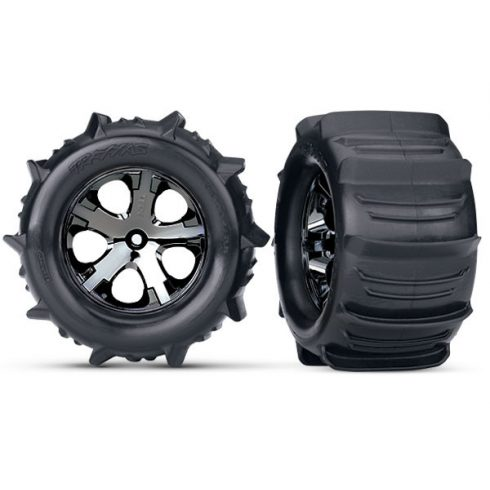 """Traxxas Tires & wheels, assembled, glued (2.8"""") (All-Star black chrome wheels, paddle tires, foam inserts) (2WD electric rear) (2) (TSM rated)"""