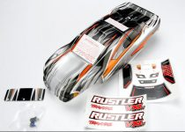 Traxxas Body, Rustler® VXL, ProGraphix® (replacement for the painted body. Graphics are printed, requires paint & final color application)/window, lights decal sheet/ wing and aluminum hardware