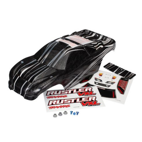 Traxxas Body, Rustler® VXL, ProGraphix® (replacement for the painted body. Graphics are printed, requires paint & final color application)/decal sheet/ wing and aluminum hardware