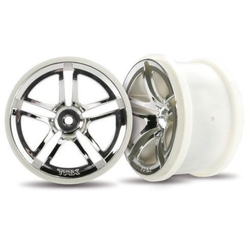 "Traxxas Wheels, Twin-Spoke 2.8"" (chrome) (2WD electric rear) (2)"