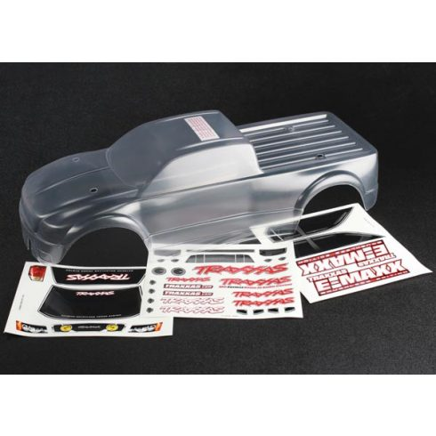 Traxxas Body, E-Maxx® Brushless (clear, requires painting)/ decal sheet