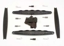 Traxxas Hold downs, battery (2)/ adhesive foam battery pads/ shoulder screws (2)/ battery hold-down posts (4)/ clips (4)