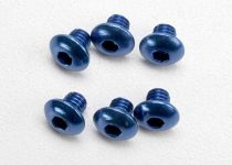 Traxxas Screws, 4x4mm button-head machine, aluminum (blue) (hex drive) (6)