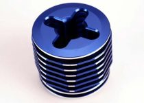 Traxxas Cooling head, pro (mach. alum.) (blue-anodized)