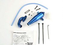 Traxxas Aluminum tuned pipe & header (complete w/mounting hardware) (strong power across mid and upper RPM range) (blue-anodized)