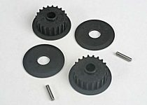 Traxxas Pulleys, 20-groove (middle) (2)/flanges (2)/ axle pins (2)