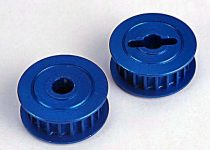 Traxxas Pulleys, 20-groove (middle)(blue-anodized, light-weight aluminum) (2)/ flanges (2)