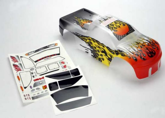 Traxxas  Body, T-Maxx®, ProGraphix® (replacement for the painted flames body. Graphics are painted, requires paint & final color application.)