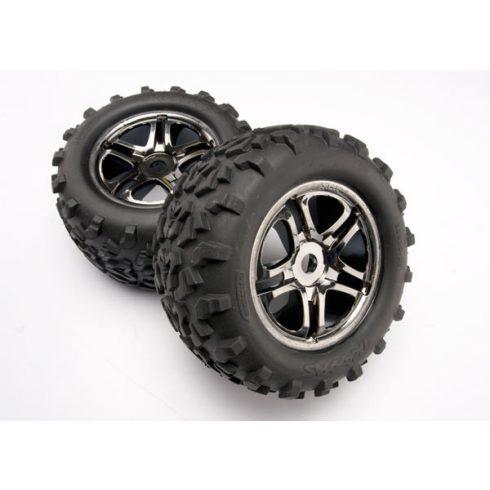 "Traxxas  Tires & wheels, assembled, glued (SS (Split Spoke) black chrome wheels, Maxx® tires (6.3"" outer diameter), foam inserts) (2) (fits Maxx®/Revo® series) (TSM rated)"