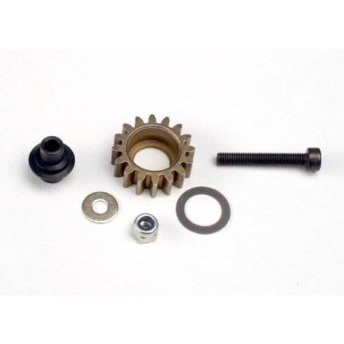 Traxxas Idler gear, steel (16-tooth)/ idler gear shaft/ 3x8mm flat metal washer/ 8x12x0.5mm PTFE-coated washer/ 3x6mm flat metal washer/ 3mm nylon locknut 3x20mm cap hex machine screw