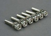 Traxxas Screws, 3x15mm cap-head machine (hex drive) (with split and flat washers) (6)