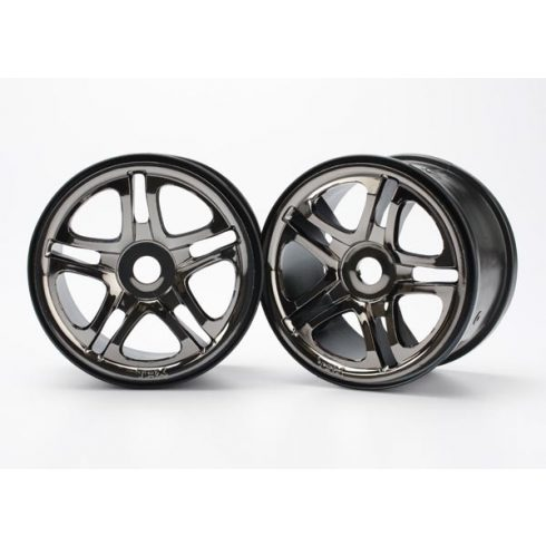 "Traxxas Wheels, SS (split spoke) 3.8"" (black chrome) (2) (use with 17mm splined wheel hubs & nuts, part #5353X) (fits Revo®/Maxx® series)"