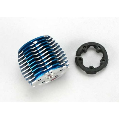 Traxxas Cooling head, PowerTune (machined aluminum, blue-anodized) (TRX® 2.5 and 2.5R)/ head protector (plastic)