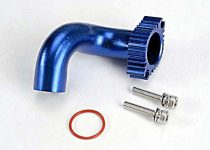 Traxxas Header, blue-anodized aluminum (for rear exhaust engines only) (TRX® 2.5, 2.5R, 3.3)