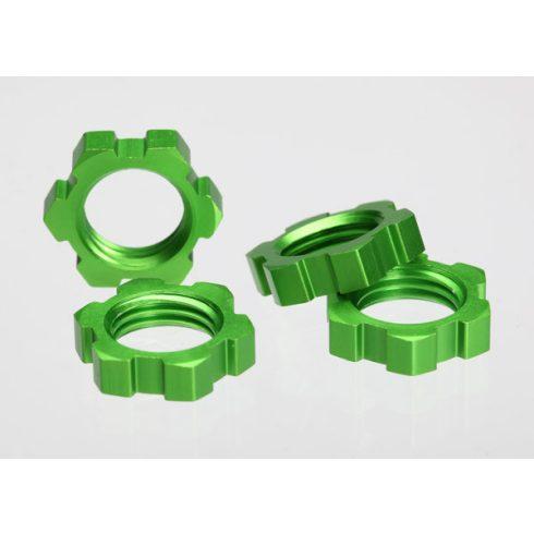 Traxxas  Wheel nuts, splined, 17mm (green-anodized) (4)