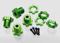Traxxas Wheel hubs, splined, 17mm (green-anodized) (4)/ wheel nuts, splined, 17mm (blue-anodized) (4)/ screw pins, 4x13mm (with threadlock) (4)