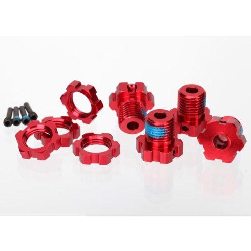 Traxxas Wheel hubs, splined, 17mm (red-anodized) (4)/ wheel nuts, splined, 17mm (red-anodized) (4)/ screw pins, 4x13mm (with threadlock) (4)