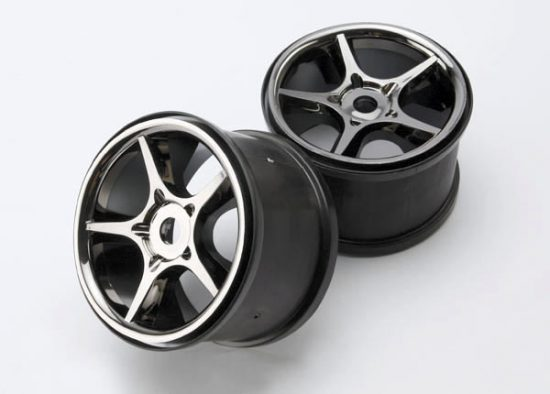 "Traxxas Wheels, Gemini 3.8"" (black chrome) (2) (use with 17mm splined wheel hubs & nuts, part #5353X)"