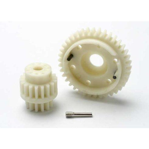 Traxxas Gear set, 2-speed wide ratio (2nd speed gear 38T, 13T-18T input gears, hardware)