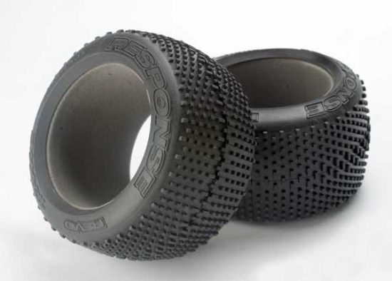 "Traxxas Tires, Response racing 3.8"" (soft-compound, narrow profile, short knobby design)/ foam inserts (2)"