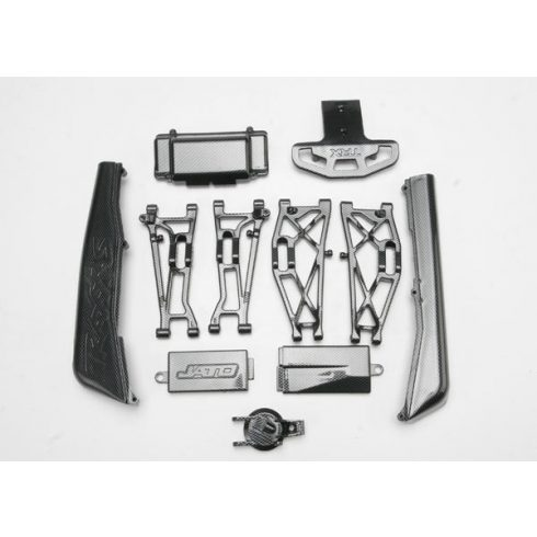 Traxxas Complete Exo-Carbon Kit, Jato® (includes rear & mid-chassis battery covers, receiver cover, dirt guards, suspension arms, front bumper, & fuel tank cap)