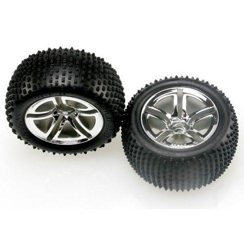 """Traxxas Tires & wheels, assembled, glued (2.8"""") (Twin-Spoke wheels, Alias® tires, foam inserts) (nitro rear) (2)"""