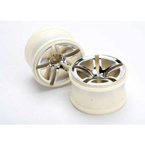 """Traxxas Wheels, Twin-Spoke 2.8"""" (chrome) (nitro front) (2)"""