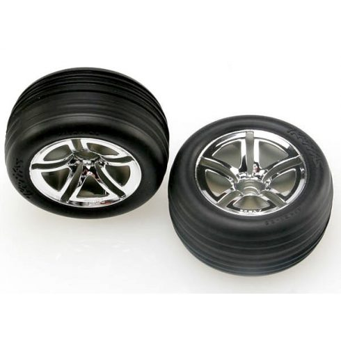 "Traxxas Tires & wheels, assembled, glued (2.8"") (Twin-Spoke wheels, Alias® ribbed tires, foam inserts) (nitro front) (2)"