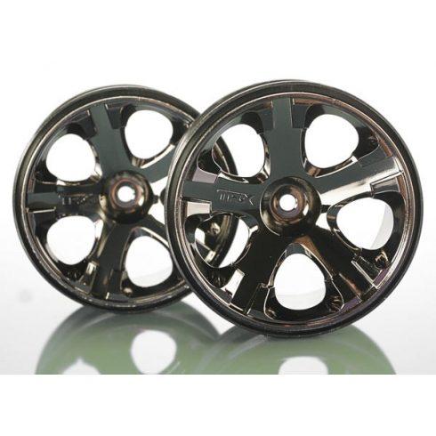 "Traxxas Wheels, All-Star 2.8"" (black chrome) (nitro rear/ electric front) (2)"