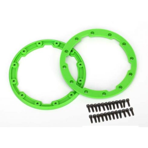 Traxxas  Sidewall protector, beadlock style (green) (2)/ 2.5x8mm CS (24) (for use with Geode wheels)