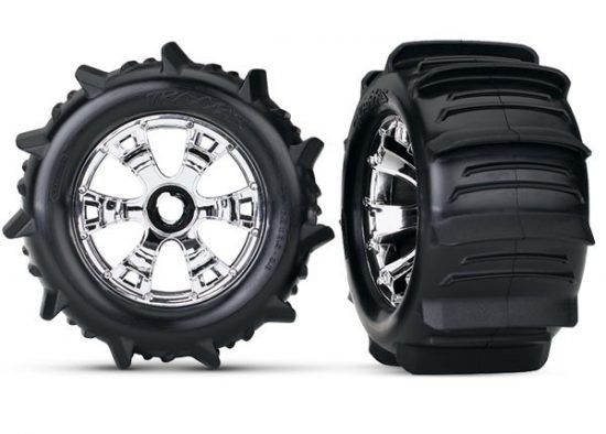 Traxxas Tires & wheels, assembled, glued (Geode chrome wheels, paddle tires, foam inserts) (2)
