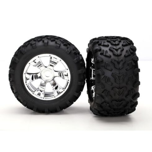 "Traxxas Tires & wheels, assembled, glued (Geode chrome wheels, Maxx® tires (6.3"" outer diameter), foam inserts) (2)"