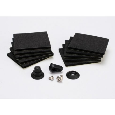 Traxxas Hatch post/hull water outlet/foam pads (10)/ washer (1)/ 4x8mm BCS, stainless steel/ 3x4mm BCS, stainless steel