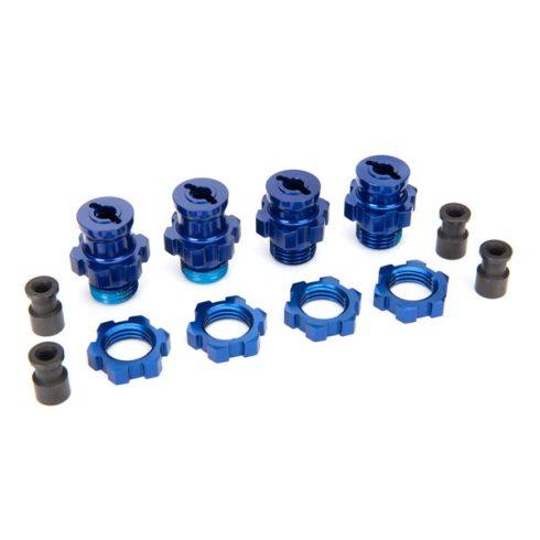 Traxxas Wheel hubs, splined, 17mm, short (2), long (2)/wheel nuts, splined, 17mm (4) (blue-anodized)/ hub retainer M4x0.7 (4)/axle pin (4)/wrench, 5mm