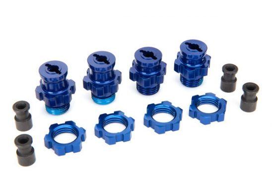 Traxxas Wheel hubs, splined, 17mm, short (2), long (2)/wheel nuts, splined, 17mm (4) (blue-anodized)/ hub retainer M4x0.7 (4)/axle pin (4)/wrench, 5mm