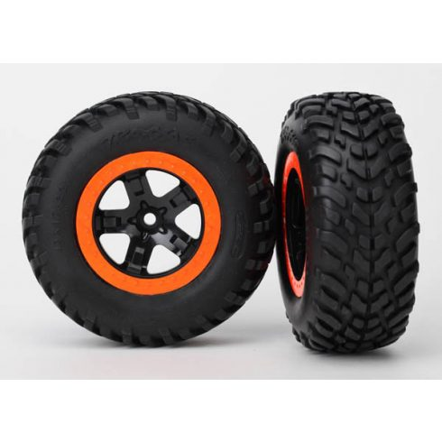 "Traxxas  Tires & wheels, assembled, glued (S1 compound) (SCT, black, orange beadlock wheels, dual profile (2.2"" outer, 3.0"" inner), SCT off-road racing tires, foam inserts) (2) (4WD f/r, 2WD rear) (TS"