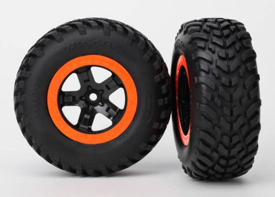 """Traxxas  Tires & wheels, assembled, glued (S1 compound) (SCT, black, orange beadlock wheels, dual profile (2.2"""" outer, 3.0"""" inner), SCT off-road racing tires, foam inserts) (2) (4WD f/r, 2WD rear) (TS"""
