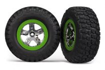 Traxxas Tires & wheels, assembled, glued (SCT, chrome, green beadlock wheel, BFGoodrich® Mud-Terrain™ T/A® KM2 tire, foam inserts) (2) (2WD front only)